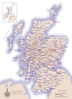 Scottish Clans and Castles - Clan Land Map Scotland Travel, Scotland Map, Scotland History, Aberdeen Scotland, Scotland Vacation, Skye Scotland, Uk History, Castle Scotland, Family History