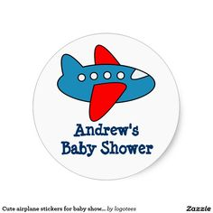 Shop Cute airplane stickers for baby shower party created by logotees. Shower Party, Baby Shower Parties, Cartoon Airplane, Airplane Baby Shower, Custom Stickers, Activities For Kids, Diy Projects, Scrapbook, Make It Yourself