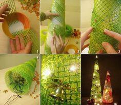 weihnachtsbaum selber machen lichterketten innen stellen