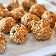 Coconut & Oats along with natural nut butter make these a power packed snack on the go. Energy Balls!