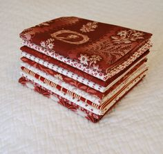 Custom made Fat Quarter Bundle of 1800s Reproduction Reds by Nauvoo Quilt Co. Civil War Antique Quilt Burgundy.
