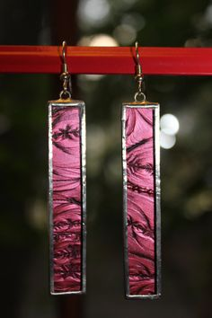 Cranberry Rectangle Stained Glass Earrings by Charles Barnes from Rainy Wish Studios