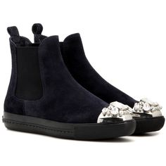Miu Miu Embellished Suede Chelsea Boots ($615) ❤ liked on Polyvore featuring shoes, boots, blue, miu miu, decorating shoes, suede leather shoes, embellished shoes and suede chelsea boots