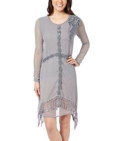 Look what I found on #zulily! Pretty Angel Gray Fringe Silk-Blend Sidetail Dress by Pretty Angel #zulilyfinds
