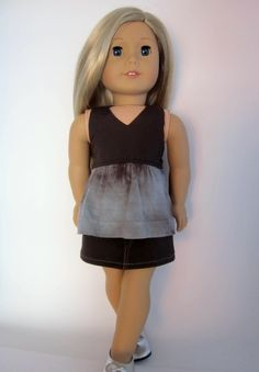 "Halter top in brown and gray tie dye for 18"" dolls like American Girl by HannahsDressUp on Etsy"