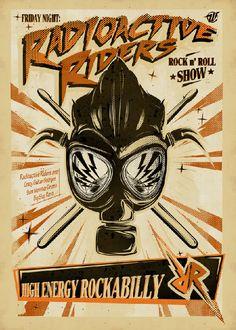 """Radioactve Riders"" Rockabilly band poster"