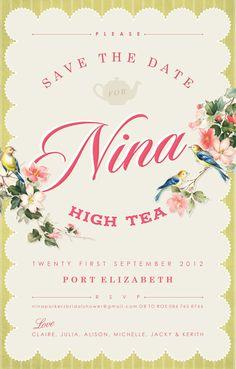 Vintage high tea party bridal shower invitation Kerith Pretorius