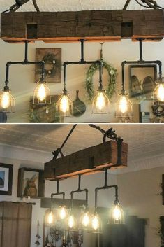 Handmade Beam Chandelier with Pipes - Pendant Lighting -    Hand-hewn barn beam with 6 vintage Edison Bulbs and mounting brackets included. The beam is 5×7 and 60 inches long. We also offer custom work for every shape and size, contact us with your needs. Buy Now  #Chandelier #Driftwood #Edison #Farmhouse #Handmade #Huge #Kitchen #Lightbulb #Lightfixture #Metal #Pendantlamp #Recycled #Rustic #Steampunk #Vintage #Wood #Woodbeam