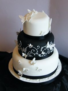 Black and white tiered butterfly wedding cake | Flickr - Photo Sharing!
