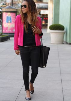 Good way to wear a hot pink jacket - with black skinny jeans & a black tee, with heels