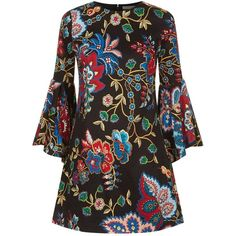 Alice + Olivia Thym Trumpet Sleeve Floral Dress (1.270 BRL) ❤ liked on Polyvore featuring dresses, floral print shift dress, flower printed dress, alice olivia dress, shift dress and long-sleeve floral dresses