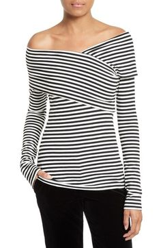 Main Image - Theory Kellay Off the Shoulder Stripe Top