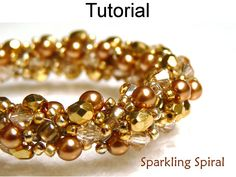 Jewerly Patterns, Beading Tutorial, Double Sprial Stitch, Bead Weaving, Bead Stitching, Pearls, Crystals, Seed Beads, Pattern Tutorials #424
