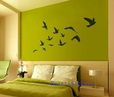Vinyl Wall Decals,wall stickers,Wall murals, nature decals ,tree decal Decors,wall art------Flying with  birds