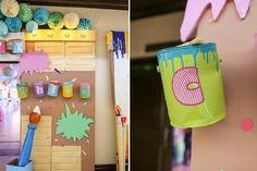 Vince and Chloe Art Attack Party - Entrance arch details Art Birthday, Birthday Ideas, Rainbow Art, Party Themes, Chloe, Arts And Crafts, Entrance, Arch, Dekoration