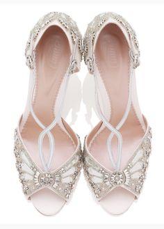 Emmy London - Leila Gold Kitten - Bridal Shoe - Ivory Kid Suede and Metallic Leather - Sandal - Low Kitten Heel Silver Bridal Shoes, Bridal Sandals, Silver Shoes, Bridal Jewelry, Silver Sandals, Suede Sandals, Heeled Sandals, Wedge Sandal, Ballerinas