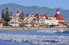 Hotel Del Coronado - Coronado Island, San Diego (film location of Some Like it Hot) Coronado Beach, Coronado Island, Hotel Del Coronado, Some Like It Hot, Spas, Marine Corps, Best California Beaches, Southern California, California Travel
