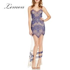 Lemon Lace Women Sleeveless Sexy A-Line Dress Backless Sheer Tulle Contrast Maxi Dress Front Split Zipper Party Dress Vestidos