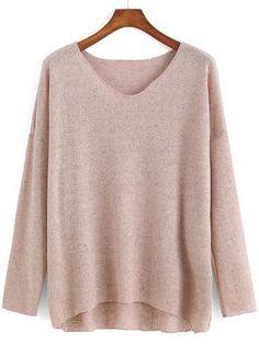 pink soft sweater, light pink v neck sweater - Crystalline