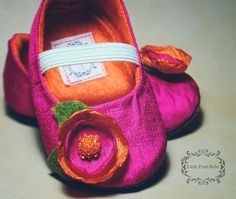 Handmade Baby Shoes Madeline booties Hot Pink by LittlePoshBebe