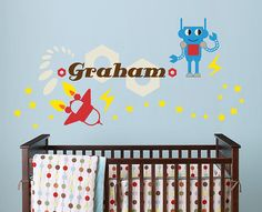 Robot and Rocket and Custom Name Vinyl Wall Decal for Nursery, Kids, Childrens Room on Etsy, $38.00