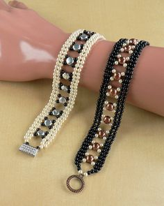 Instant download. This is a listing for PDF that will teach you how to make the beautiful pearl-bracelet using basic Diamond Weave and Variation 2. Materials: Glass pearls (Crystal pearls), 6mm Double hole Cabochon Bead or 6mm double hole DuoDisc Beads, toggle clasp, Fireline and the usual (needles, scissors).