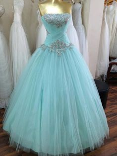 Strapless Sapphire Blue Organza Ruffled Ball Gown Prom by ...