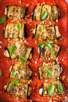 Aubergine involtini with vegan ricotta is a dairy-free version of this Italian classic. It makes a delicious, vegan and gluten-free appetizer or a side. Vegan Ricotta, Vegan Pasta, Lazy Cat Kitchen, Gluten Free Appetizers, Snacks Für Party, Vegan Recipes, Vegan Meals, Vegan Foods, Vegan Dishes