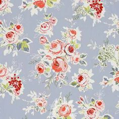 Clarke and Clarke Garden Party RoseGarden Chambray Roman Blind