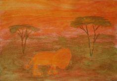 Waldorf ~ 4th grade ~ Human & Animal ~ Lion ~ watercolor painting