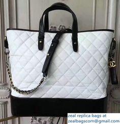 Chanel Gabrielle Large Hobo Shopping Tote Bag A93823 White/Black 2017 Chanel Gabrielle, White Tote Bag, Luxury Bags, Louis Vuitton Damier, Pattern, Shopping, Black, Black People, Patterns