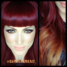 Redhead Ombre (The hair color is a 5RV mixed with 7CC and 20 volume peroxide, the ends are bleached to create the ombre effect)