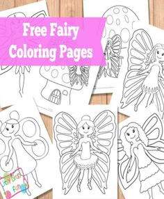 Free Fairy Coloring Pages. Easy, medium and complex difficulty levels (4 designs for each).