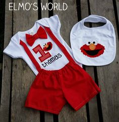 Boys Elmo Inspired Birthday Outfit with Bowtie and Suspenders Birthday Party Outfits, Boy Birthday Parties, Birthday Shirts, Birthday Ideas, Elmo First Birthday, 1st Boy Birthday, Sesame Street Party, Sesame Street Birthday, Elmo Bebe
