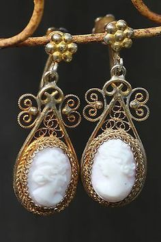 Vintage Gold Washed 800 Silver Filigree Pink Shell Cameo Screw Back Earrings