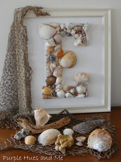 Monogram wall art is big, big, big right now in home decor. Make your own monogram with seashells, for a nautical spin on this hot design trend!