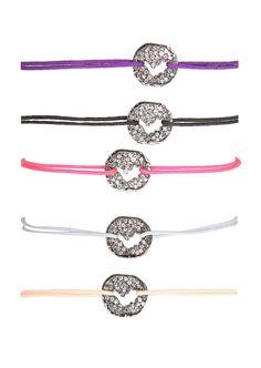 Dominique Elie Bracelets :: Dominique Elie black gold and grey diamonds Saint Barth Love Sign bracelet | Montaigne Market