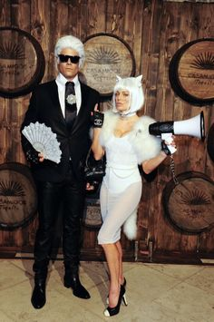 Fergie and Josh Duhamel as Karl Lagerfeld and his cat, Choupette