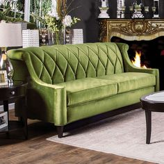 House of Hampton Baryte Tufted Sofa Upholstery: Sofa Upholstery, Upholstered Sofa, Fabric Sofa, Green Furniture, Living Room Furniture, Apartment Furniture, Furniture Ideas, Sofa Design, Interior Design