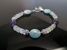 Aquamarine-Amethyst-Moonstone Bracelet, Multi Gemstones Jewelry In Sterling Silver, 6.75-8.25 Inches Length, Aquamarine Amethyst Bracelet by KeiraCrystalCreation on Etsy