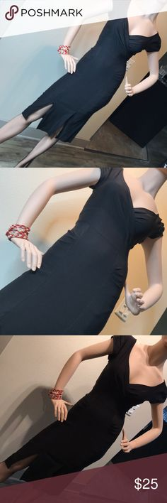 """Stop Staring""Black Sexy Dress Vintage Look in S Like the designer says, a dress you will get attention with! *form fitting stretch *sturdy material *super deal *some wear showing (check pics) however not visible in the ""evening out"" Stop Staring Dresses Midi"