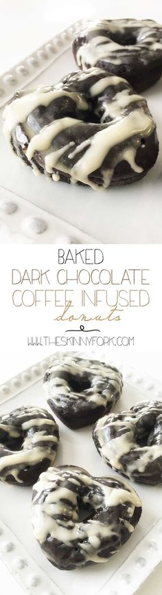 Baked Dark Chocolate Coffee Infused Donuts (Sponsored) Baked Dark Chocolate Coffee Infused Donuts - Chocolate and coffee come together in this yummy wholesome donut! Donut Recipes, Coffee Recipes, Cooking Recipes, Cooking Cake, Just Desserts, Delicious Desserts, Yummy Food, Baked Doughnuts, Donuts Donuts