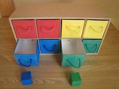 今日は、おしごとの紹介をしたいと思います。牛乳パックで作った引き出しです。(夫作)開け閉めしたい1歳くらいからが対象です。色別の引き出しの中には、その引き出しの色の積み木が入っていますので、積み木を出したり入れたりもできます。積み木は、息子が使っていたものです。詳細は、ひとりで、できた!―子どもは手を使いながら一人立ちする(サンマーク出版相良敦子監修池田政純池田則子著)P84を参照してください。本では、本体も空き箱で作ってありますが、こちらでは、MDF(ファイバーボードの一種である中質繊維板)というもので、作っています。工作しやすいようで、よく使っています。木工用ボンドで接着できます。ホームセンターに売っています。引き出しは、牛乳パックで作り、前面・側面に色画用紙を貼り、さらに、カバーフィルム(文具売り場にあり...牛乳パックの引き出し【1歳~】