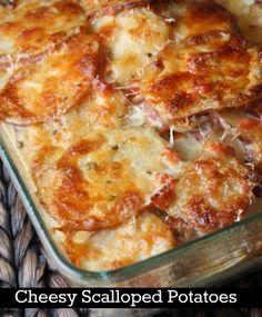 Cheesy Scalloped Potatoes #recipe - RecipeGirl.com : Absolutely the BEST scalloped potatoes recipe ever. SO good.