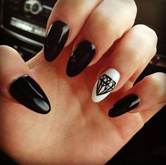 Black and white nails with diamond - looks good!