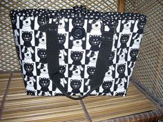 Tote Cat and Dog Black and White by CutePurseNalities on Etsy, $25.00