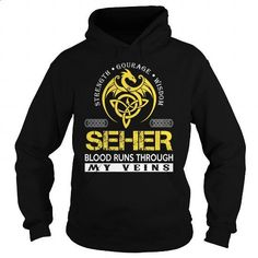 SEHER Blood Runs Through My Veins (Dragon) - Last Name, Surname T-Shirt - #gifts for boyfriend #personalized gift