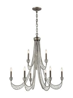 New York 6 Light Chandelier In Renaissance Silver Leaf by Artistic Home & Lighting at Gilt