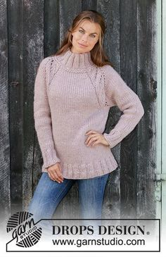 Warm Fall - Knitted jumper with raglan in DROPS Eskimo. The piece is worked top down with lace pattern and high neck. Sizes S - XXXL. Drops Design, Chunky Knitting Patterns, Free Knitting, Lace Patterns, Clothing Patterns, Crochet Patterns, Raglan Pullover, Big Knits, Warm Autumn