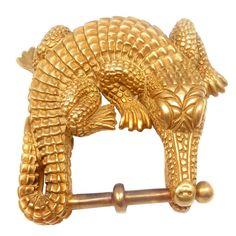 KIESELSTEIN CORD Solid  Gold Large Alligator Belt Buckle